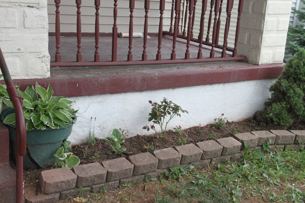 I transplanted the existing florals to this bed, and planted a vining rose.